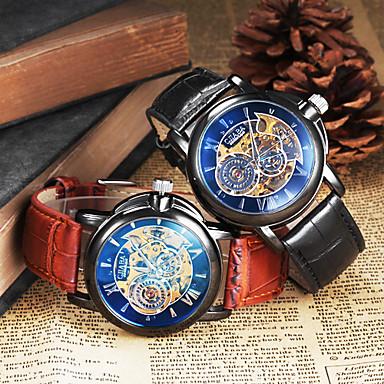 Муж. Механические часы Наручные часы С автоподзаводом С гравировкой Кожа Группа Черный Коричневый