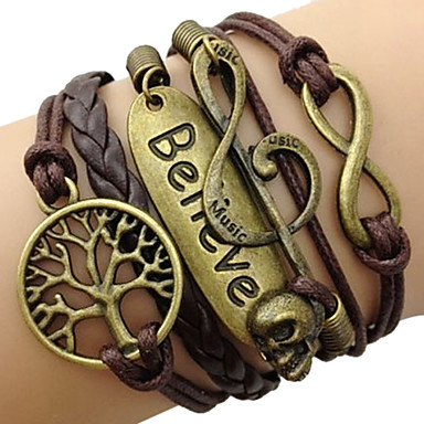cheap Bracelets-Women's Plaited Wrap Twisted Wrap Bracelet Leather Bracelet Leather Tree of Life Love Infinity Ladies Vintage Inspirational Bracelet Jewelry Coffee For Christmas Gifts Daily Casual Sports Cosplay