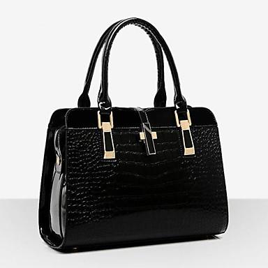 hesapli Toteler-Kadın's Çantalar Rugan Deri Tote / Omuz çantası için Davet / Parti / Resmi / Ofis ve Kariyer İlkbahar yaz Siyah / Mavi / Şarap