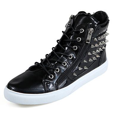 Sneakers-Læder-Komfort-Herre-Sort Blå Hvid-Kontor Fritid Sport-Flad hæl