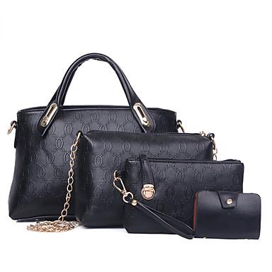 Kadın Çantalar PU 4 Adet Çanta Seti için Alışveriş Günlük Resmi Tüm Mevsimler Siyah Bej Sarı Mavi