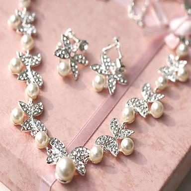 Жен. Стразы Свадьба Искусственный жемчуг Сплав Серьги Ожерелья