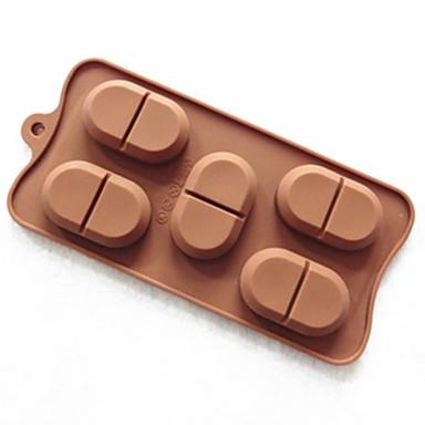 5 отверстий форма форма Папуа фасоль торт плесень льда желе формы шоколада, силиконовая 22 × 11 × 1,5 см (8,7 × 4,3 × 0,6 дюйма)