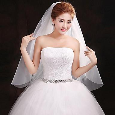 Un nivel Margine Tăiată Voal de Nuntă Voaluri Lungime Până la Vârfurile Degetelor Cu Broderie 59.06 în (150cm) Tulle