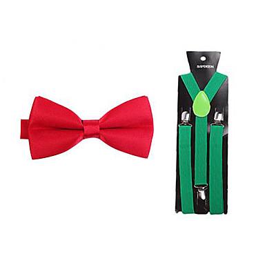 herenmode rode nylon polyester solide strikjes en groene jarretel set