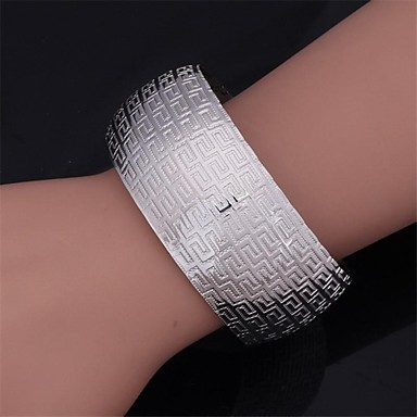 U7® Vintage G Pattern Women's Bangle 18K Real Chunky Gold Fill Platinum Plated Cuff Bracelet for Women or Men