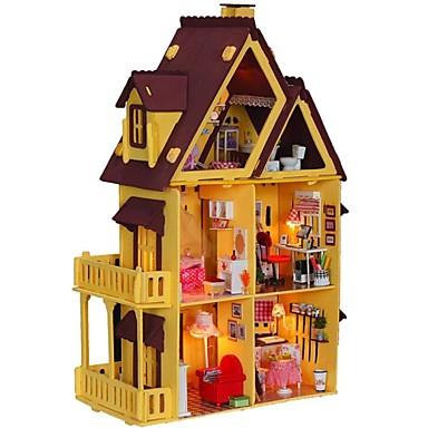 Large Dream Villa Room DIY Wood Dollhouse Including All Furniture 3D Lamp Kit