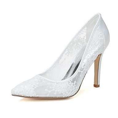 Dame Sko Blonder Vår / Sommer bryllup sko Stiletthæl Spisstå Blonder Hvit / Rød / Rosa / Bryllup / Fest / aften