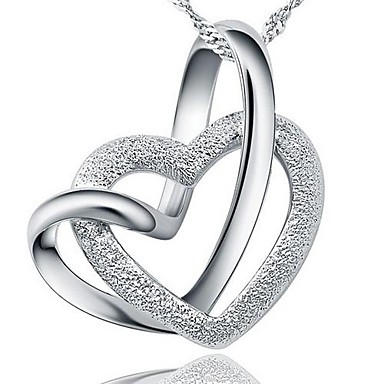Ladies' Silver Heart-Shaped Pendant Chain Necklace