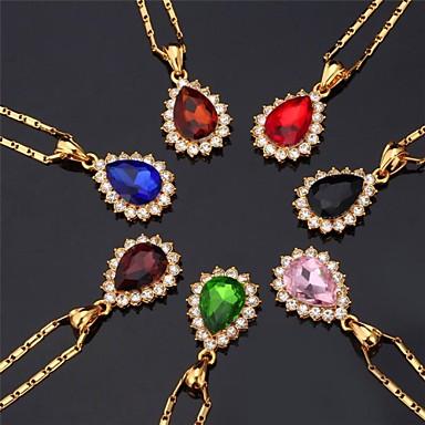 Dames Synthetische Diamant Strass Verguld Gesimuleerde diamant Choker kettingen Hangertjes ketting  -  Modieus Cirkelvorm Blauw Roze