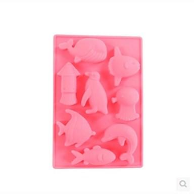 8 delik yunus şeklinde pasta buz jöle çikolata kalıpları, silikon 13 × 8.7 × 1.5 cm (5.1 x 3.4 x 0.6inch) rastgele renk