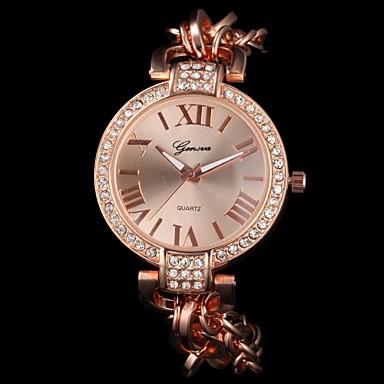 Женские Модные часы Кварцевый сплав Группа Блестящие Серебристый металл Золотистый Розовое золото