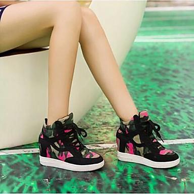 Mujer Negro Primavera Otoño Tacón Gris Cuña Cordón Con Sintético 02390298 Zapatos 1Bq1w4xHS