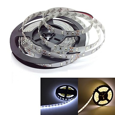 5m Flexible LED Light Strips 300 LEDs 5630 SMD Warm White / White Self-adhesive 12 V / IP44