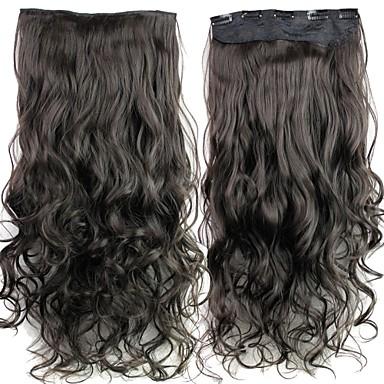voordelige Synthetische extensions-Gekruld Synthetisch haar 24 inch(es) Haarextensies Klem In / Op Zwart Dames Dagelijks / Zonder kap