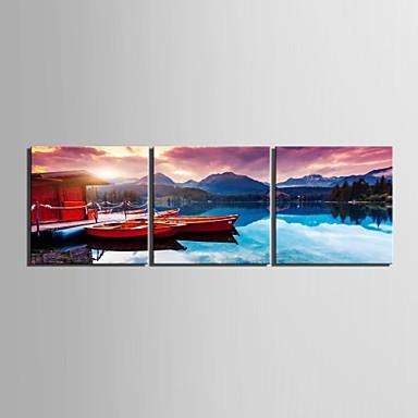 e-Home® gespannen doek The Lake House en boot decoratie schilderij set van 3