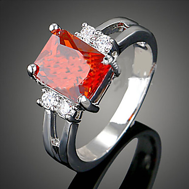 Women's Statement Ring - Cubic Zirconia Luxury, Fashion One Size White / Red / Blue For Party