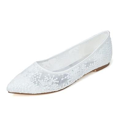 Női - Hegyes orrú - Esküvői cipők - Balerinek - Esküvői / Party és Estélyi - Fekete / Rózsaszín / Piros / Elefántcsont / Fehér