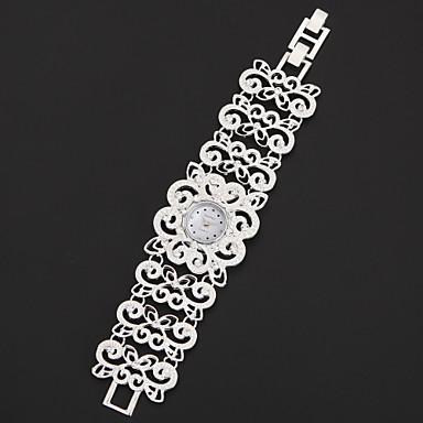 Kadın's Bilezik Saat Japonca imitasyon Pırlanta Alaşım Bant Çiçek / Işıltılı / Moda Gümüş