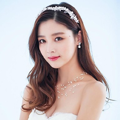 Crystal Imitation Pearl Rhinestone Alloy Headbands Headwear Wreaths with Floral 1pc Wedding Special Occasion Outdoor Headpiece