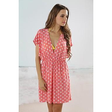 4e34c9230ff9ae kobiet mody sexy różowe kropki głęboko v strój plażowy bikini stroje  kąpielowe tuszowanie mini sukienka