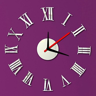 Modern/Contemporary Crystal Round Indoor,AA Wall Clock