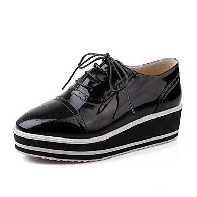 Γυναικείο Παπούτσια Δερματίνη Άνοιξη Καλοκαίρι Φθινόπωρο Ενιαίο Τακούνι Για Causal Φόρεμα Μαύρο Λευκό