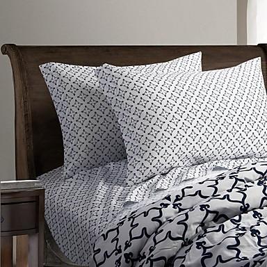 Sheet Set - Microfibre Reactive Print Stripe 1pc Flat Sheet 1pc Fitted Sheet 2pcs Pillowcases (only 1pc pillowcase for Twin or Single)
