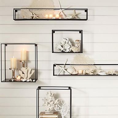 E-HOME® Metal Wall Art Wall Decor, Rectangular Wall Decor Set of 5 ...