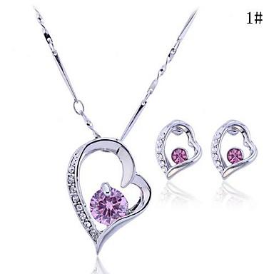 Dames Sieraden Set Luxe Liefde Feest Verjaardag Verloving Lahja Kristal Zirkonia Kubieke Zirkonia Legering Hart Oorbellen Kettingen