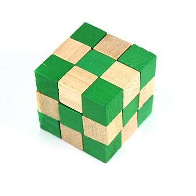 Yeşil kare ahşap eğitici oyuncaklar kilidini