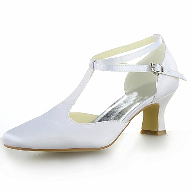 Women's Shoes Satin Summer T-Strap Kitten Heel Buckle for Wedding Pink Silver Yellow Purple Royal Blue