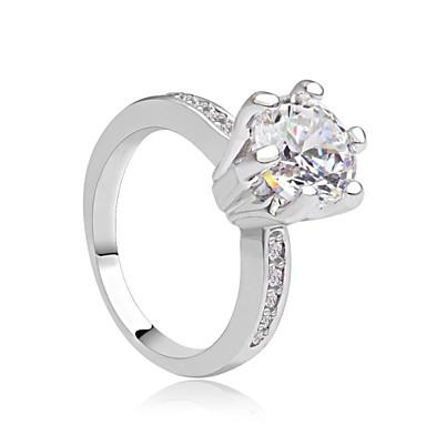 Cubic Zirconia Επιμεταλλωμένο με Πλατίνα - Πριγκίπισσα Κλασσικό Λευκό Δαχτυλίδι Για Πάρτι / Βράδυ