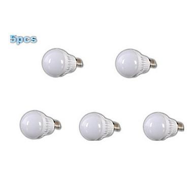 5 stuks 400-500lm E26 / E27 LED-bollampen A60 (A19) 18 LED-kralen SMD 2835 Warm wit 220-240V / RoHs