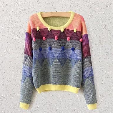 palle di spessore maglione di lana delle donne girocollo mano geometrica  diamanti colorati del 2624284 2019 a $43.04