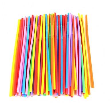 háztartási műanyag színes szívószálak (100 db)