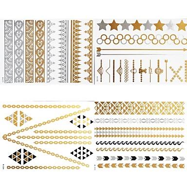 - Dövme Etiketleri - Temalı - Mücevher Serileri - Kadın/Girl/Yetişkin/Genç - Kahverengi - Kağıt - #(8) -Adet #(23x15.5)
