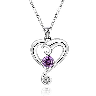 Women's Heart  -  Heart Round Purple Red Blue Necklace For Wedding Party Anniversary