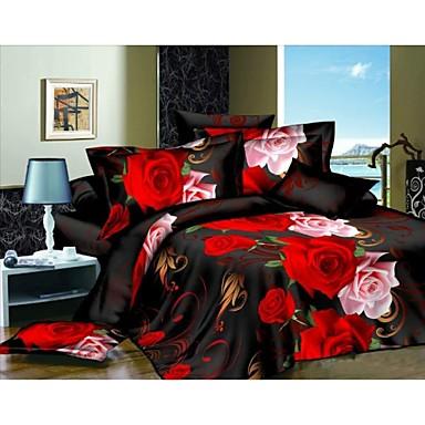 4c37f1a39cd τέσσερις κομμάτι 3d κόκκινο τριαντάφυλλο εκτυπώσετε μαύρο σετ ...