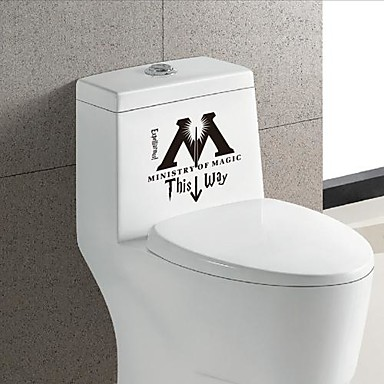 Мода Слова и фразы Наклейки Простые наклейки Наклейки для туалета, Винил Украшение дома Наклейка на стену Унитаз