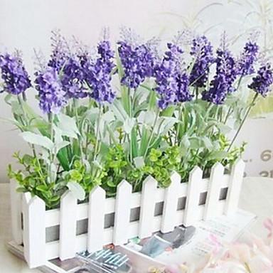 1 şube Plastik Açık Mavi Masaüstü Çiçeği Yapay Çiçekler