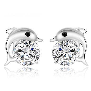 Women's Stud Earrings Cute Style Fashion Sterling Silver Dolphin Animal Jewelry Party Daily Casual