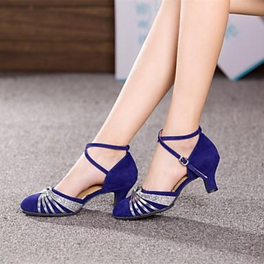 Kadın's Modern Dans Ayakkabıları / Balo Süet Topuklular Payet Küba Topuk Kişiselletirilmemiş Dans Ayakkabıları Gümüş / Altın