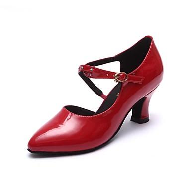 Női Modern Lakkbőr Szandál Vaskosabb sarok Fekete Piros 1