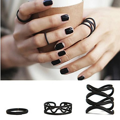 Kadın's Bildiri Yüzüğü Siyah alaşım Mücevher Kişiselleştirilmiş Aşk Moda Düğün Parti Hediye Günlük sevgililer günü Kostüm takısı