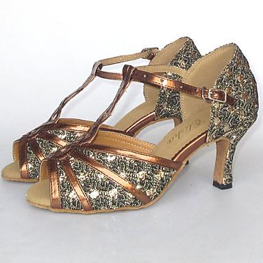 povoljno Cipele za salsu-Žene Svjetlucave šljokice / Umjetna koža Cipele za latino plesove / Cipele za salsu Sandale Potpetica po mjeri Moguće personalizirati Crna / Crvena / Srebrna / Brušena koža / EU43
