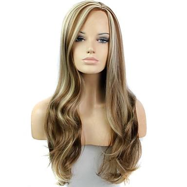 Uzun dalga kadın ısıya dayanıklı fiber sentetik peruk 28 inç