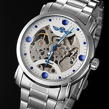 WINNER Men's Mechanical Watch Hollow Engraving Stainless Steel Band Charm Silver / Automatic self-winding