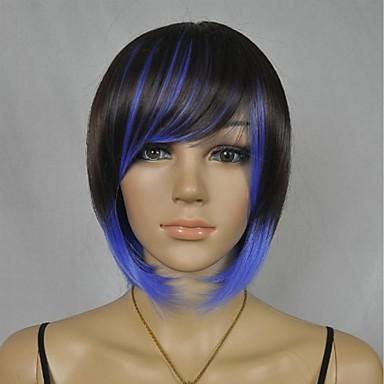 Yan patlama ile kadın moda kısa siyah mavi karışımı Cosplay parti peruk