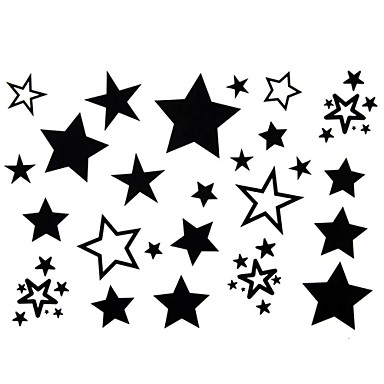 2Pcs Yimei Tattoo Stickers Waterproof Animal Series Women/Girl/Men/Adult/Boy/Teen Black  Stars  Pattern  17cm*16cm
